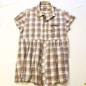 Free People Plaid Short Sleeve Shirt